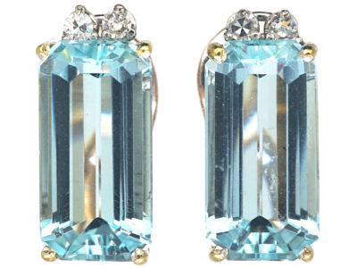 18ct White Gold Aquamarine & Diamond Rectangular Shaped Clip On Earrings