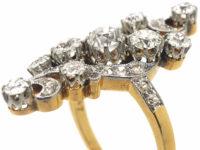 Art Nouveau 18ct Gold & Platinum Diamond Twist Ring