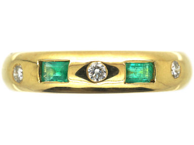 18ct Gold Emerald & Diamond Rub Over Set Ring