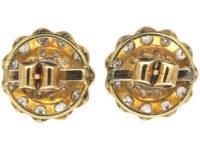 Edwardian 15ct Gold & Platinum Large Diamond Cluster Earrings