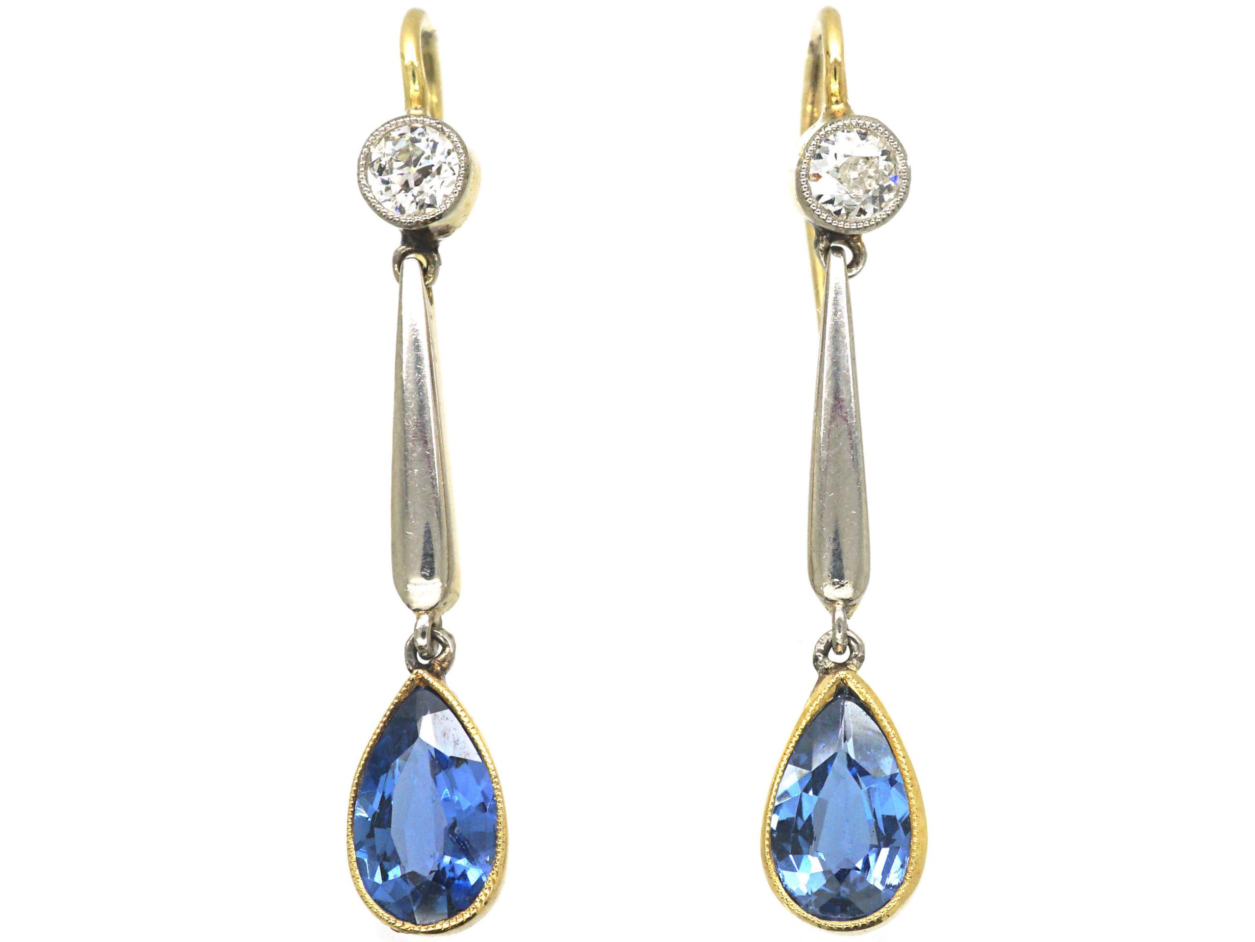 Edwardian 15ct Gold & Platinum, Sapphire & Diamond Drop Earrings