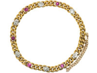 French 18ct Gold, Ruby & Diamond Curb Link Bracelet