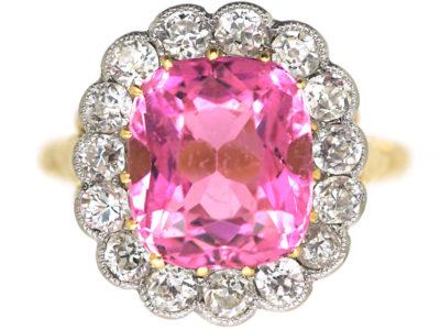 Edwardian 18ct Gold & Platinum, Pink Tourmaline & Diamond Cluster Ring