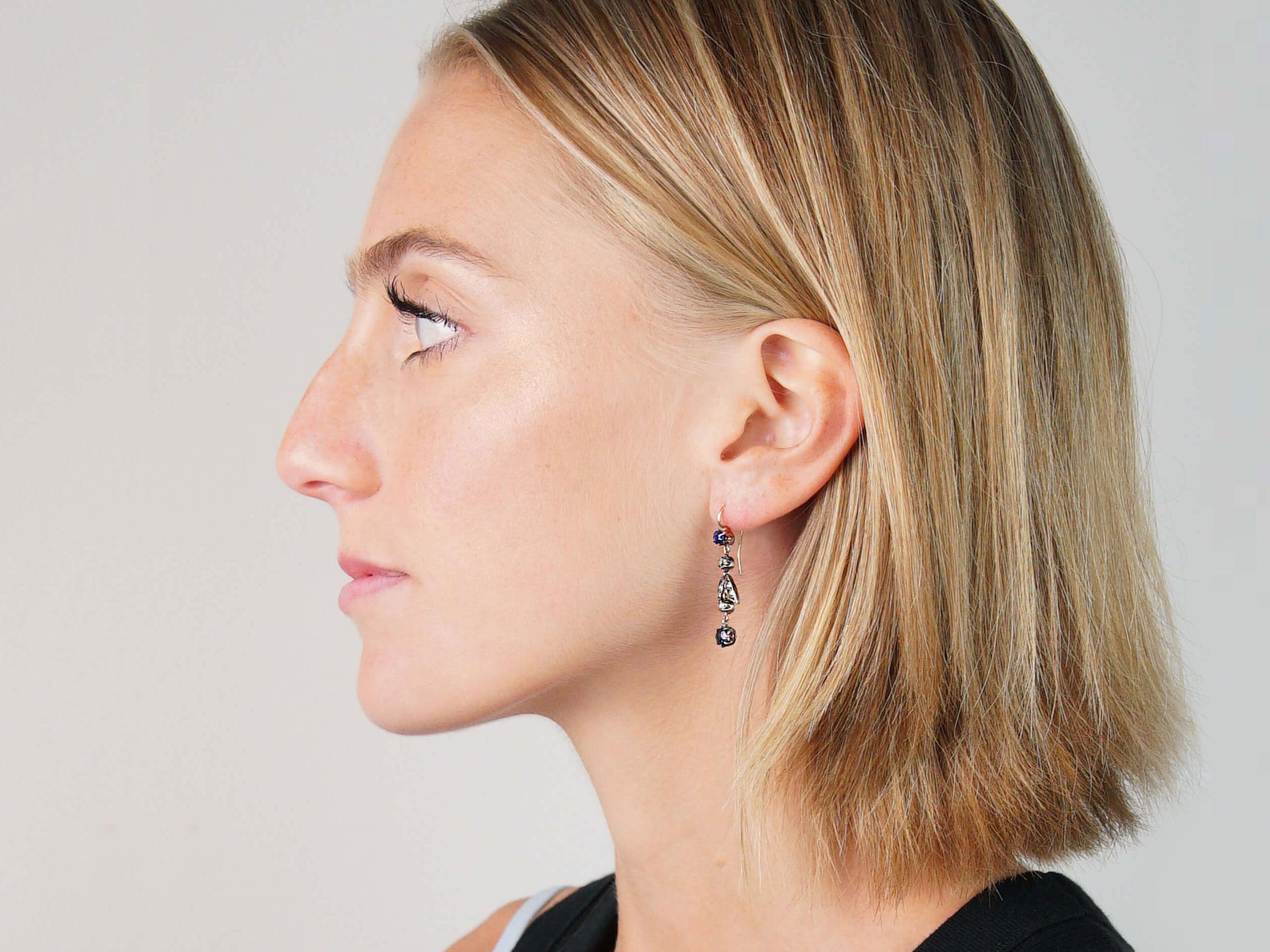 Edwardian Sapphire & Diamond Drop Earrings