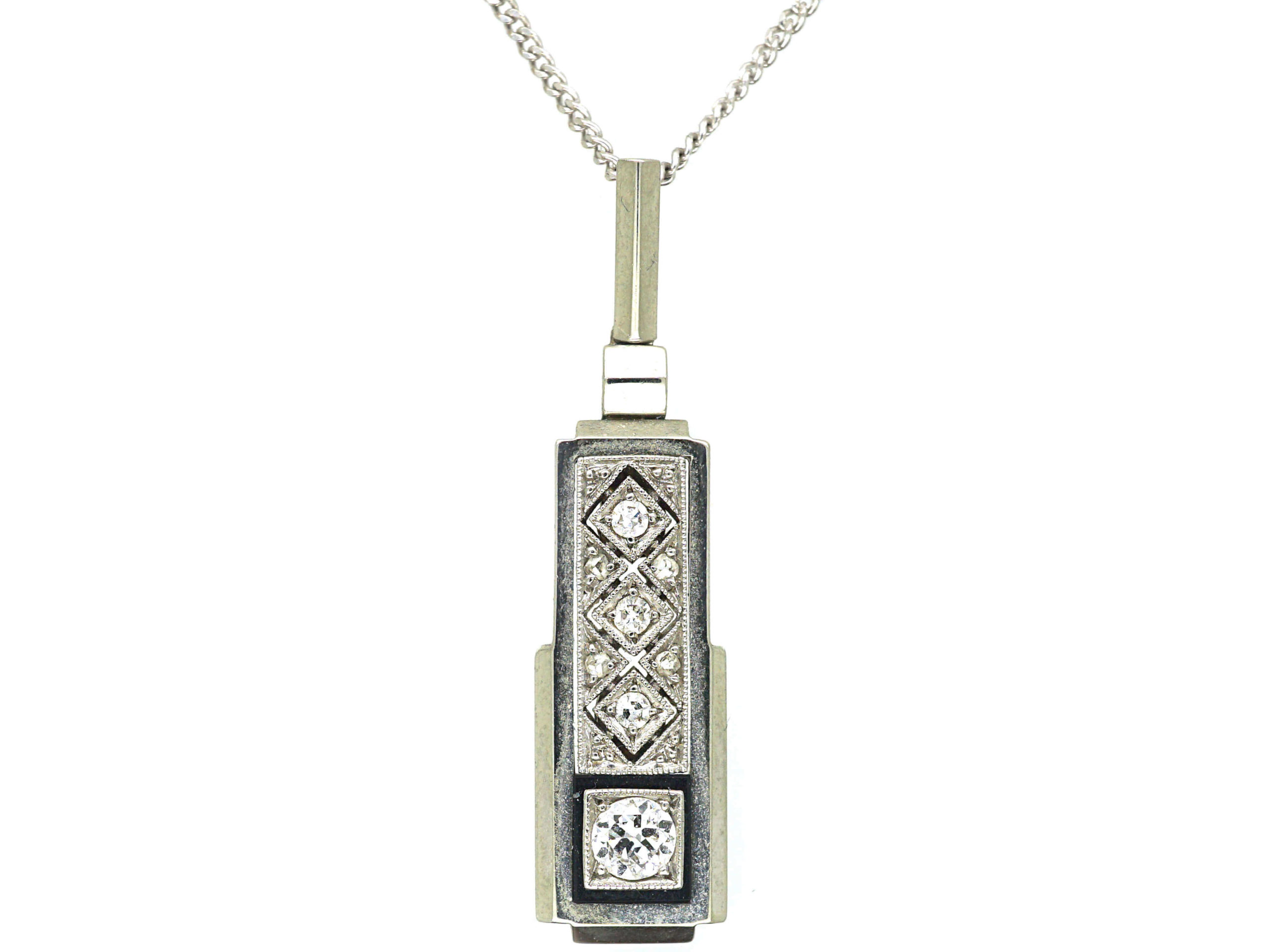 Art Deco 14ct White Gold, Diamond & Onyx Pendant on a Chain
