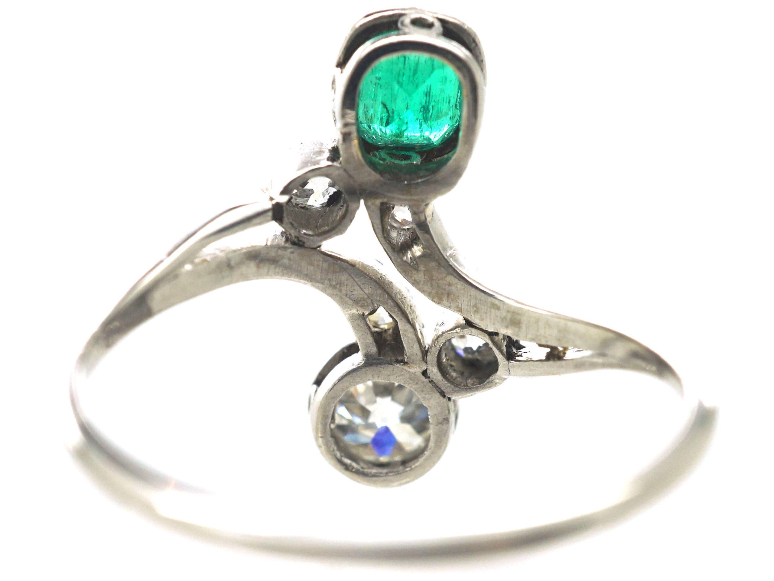 Art Nouveau Emerald & Diamond Cross Over Ring