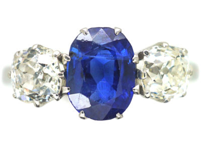 Art Deco Platinum, Three Stone Sapphire & Diamond Ring