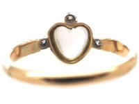Edwardian 15ct Gold, Moonstone & Diamond Heart Shaped Ring
