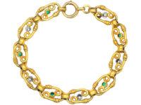 French Belle Epoque 18ct Gold Diamond & Emerald Bracelet