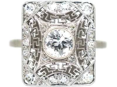 Art Deco Rectangular Platinum & Diamond Ring with Key Design Detail