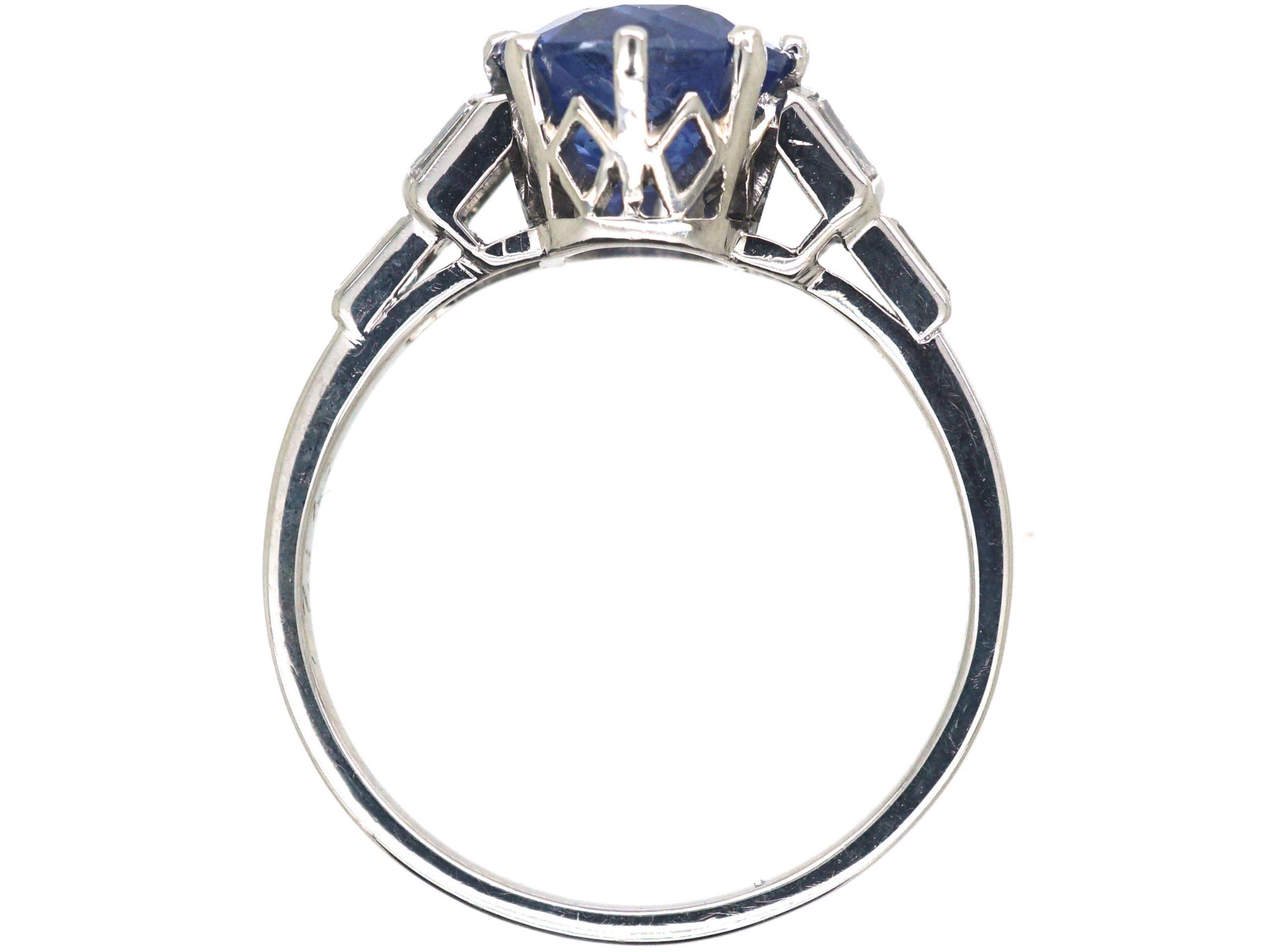 Art Deco Platinum, Ceylon Sapphire & Diamond Ring