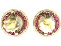 Edwardian 14ct Gold Moonstone & Ruby Round Stud Earrings