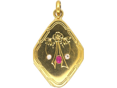 Edwardian 14ct Gold Locket set with a Ruby & Two Natural Split Pearls