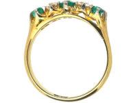 Edwardian 18ct Gold, Emerald & Diamond Five Stone Ring