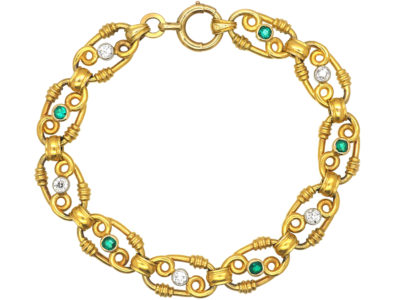 French Belle Epoque 18ct Gold Diamond & Emerald Bracelet