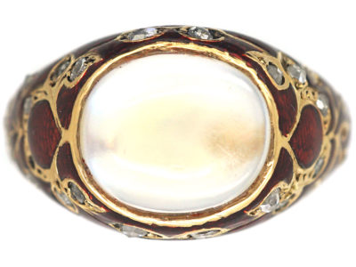 Edwardian 18ct Gold, Moonstone, Enamel & Rose Diamond Ring