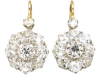 French Belle Epoque 18ct White & Yellow Gold Diamond Cluster Earrings