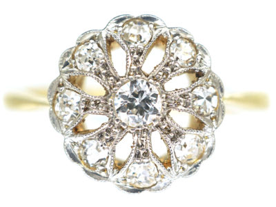 Edwardian 18ct & Platinum, Openwork Diamond Cluster Ring