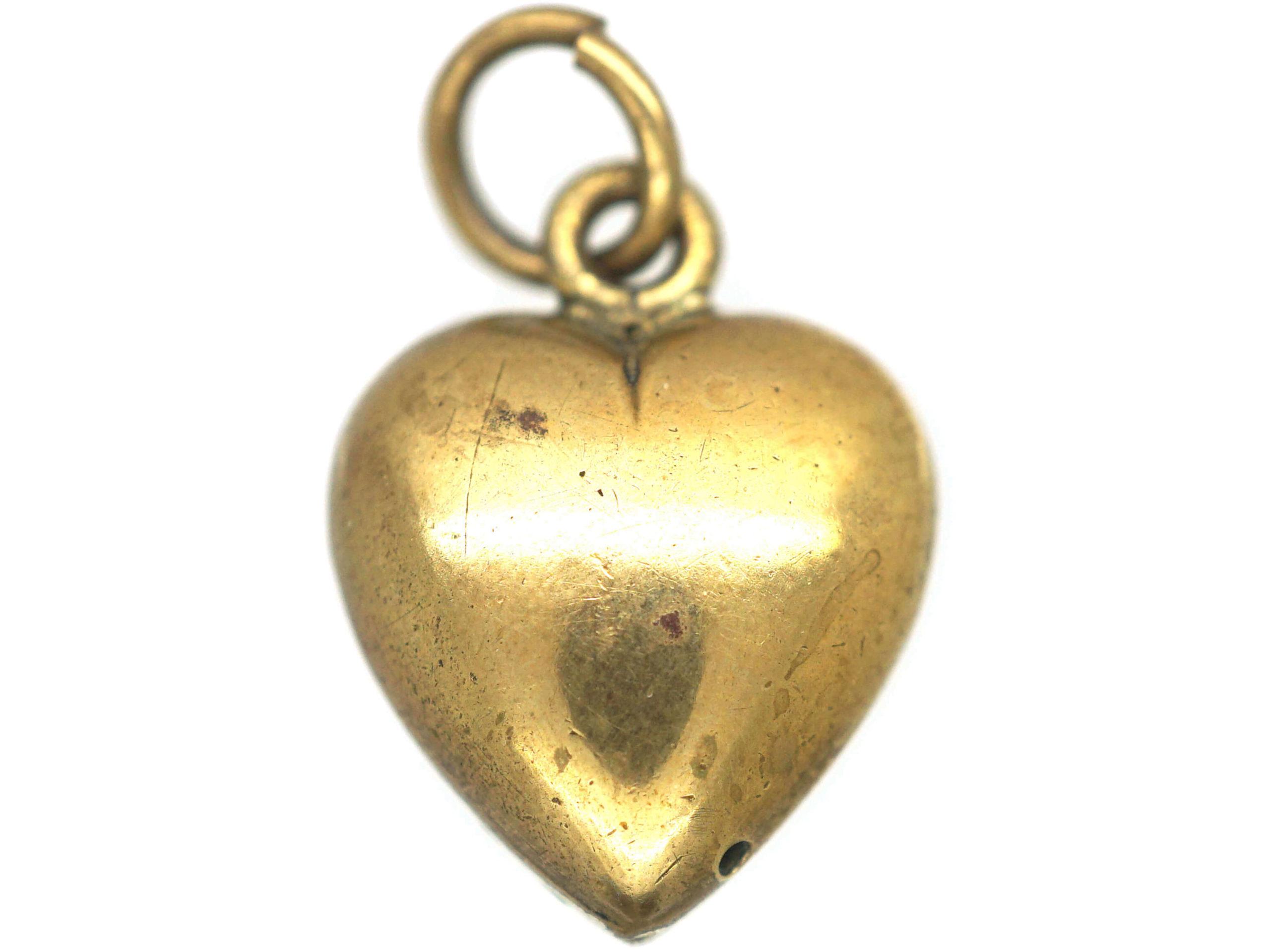 Edwardian Silver Gilt & Green Enamel Heart Shaped Pendant set with a Natural Split Pearl