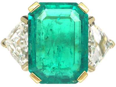 French 18ct Gold, Large Rectangular Emerald & Diamond Ring