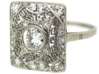 Art Deco Rectangular Platinum & Diamond Ring with Key Design Detail