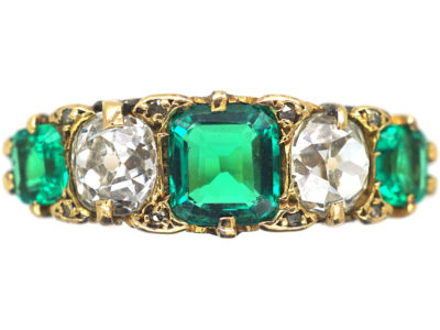 Victorian 18ct Gold, Columbian Emerald & Diamond Five Stone Carved Half Hoop Ring
