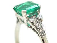 Art Deco Platinum, Emerald & Diamond Ring