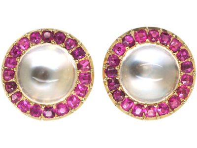 Edwardian 14ct Gold Moonstone & Ruby Round Stud Earrings