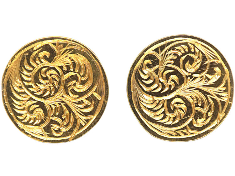 Victorian Engraved 15ct Gold Round Stud Earrings