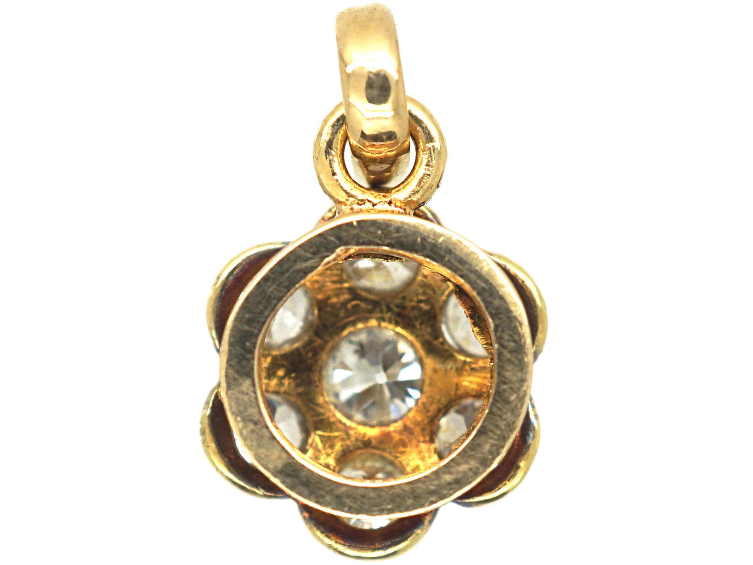 18ct Gold & Platinum, Diamond Set Daisy Cluster Pendant