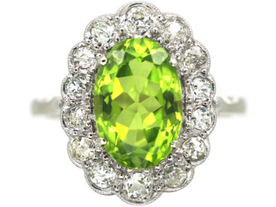Edwardian 18ct White, Diamond & Peridot Oval Cluster Ring