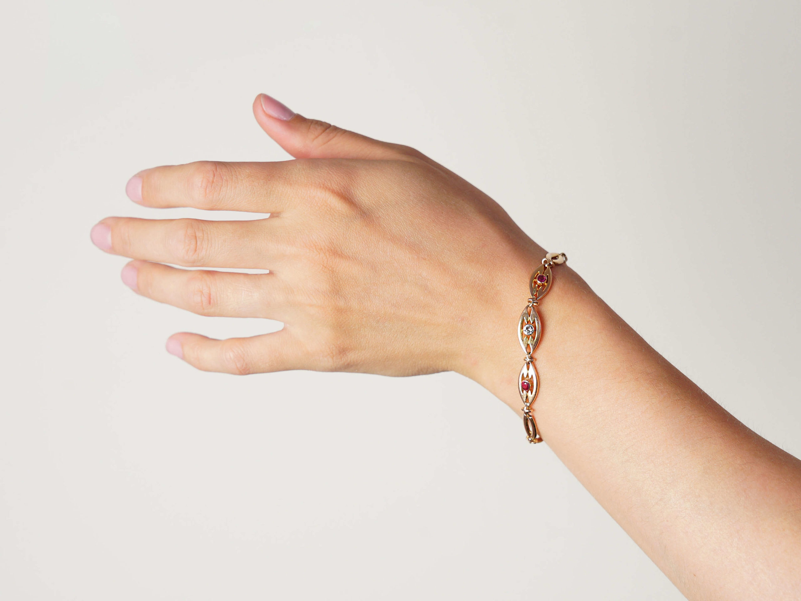 Art Deco 14ct Gold Ruby & Diamond Bracelet