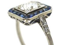 Art Deco Platinum, Sapphire & Diamond Square Ring
