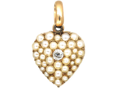 Edwardian 15ct Gold Heart Pendant set with Natural Split Pearls & a Diamond