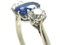 Art Deco 18ct White Gold, Three Stone Sapphire & Diamond Ring