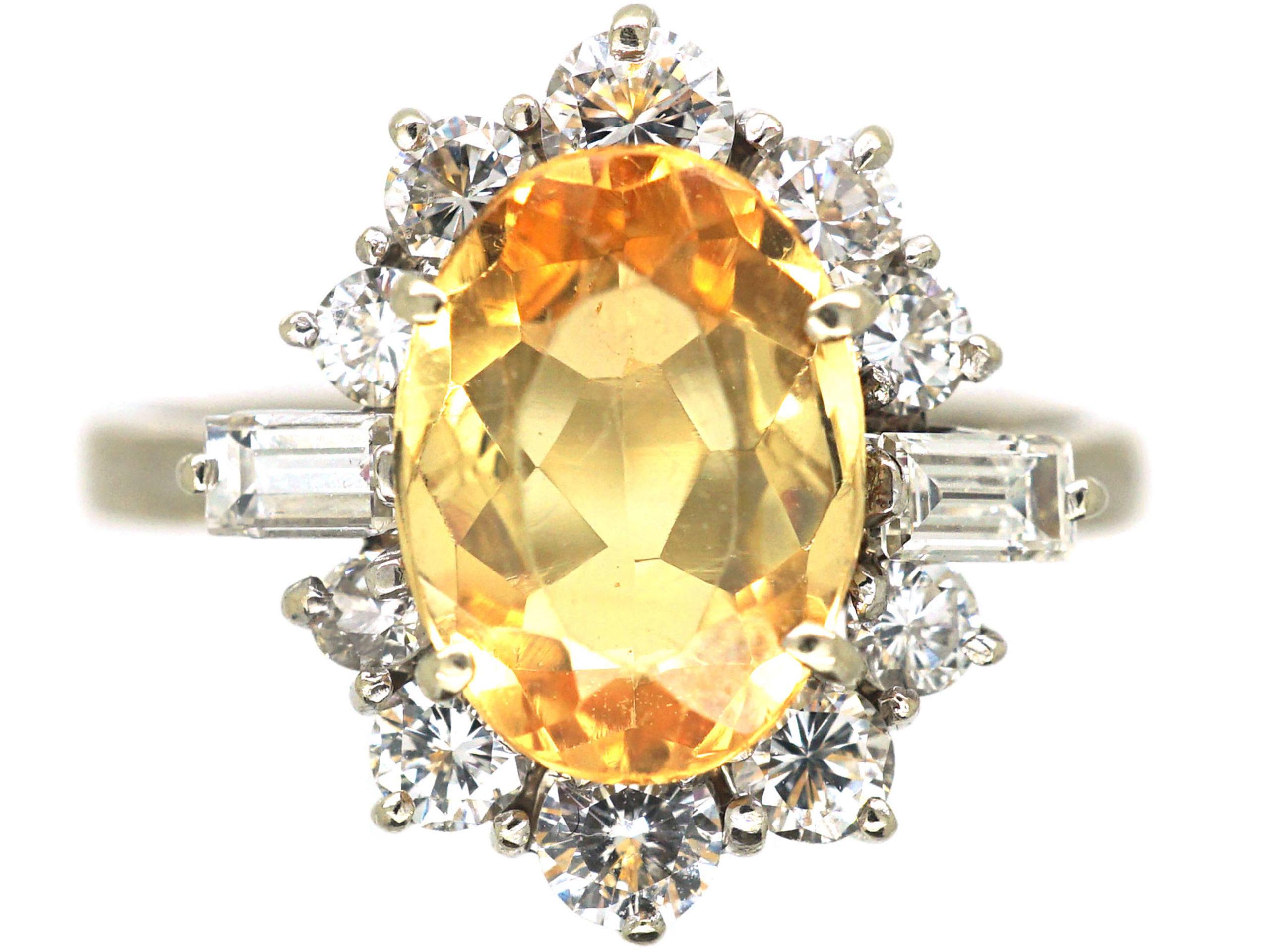 18ct White Gold, Topaz & Diamond Ring