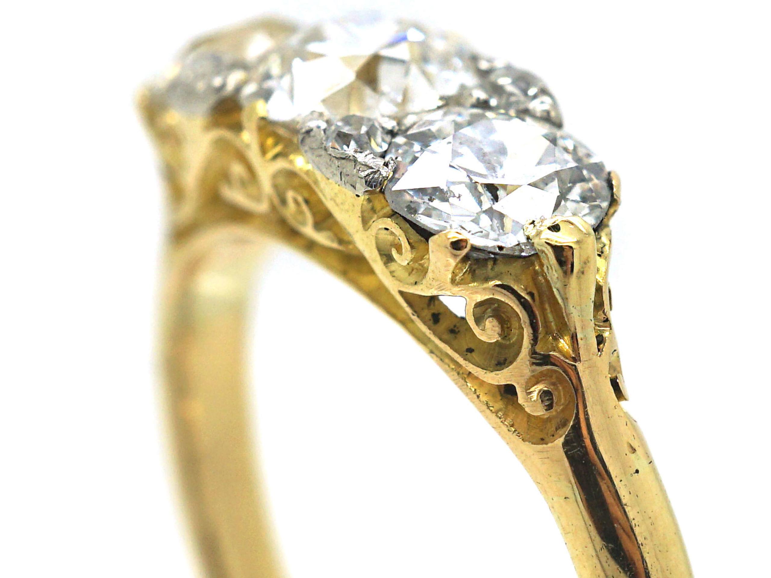 Edwardian 18ct Gold, Three Stone Diamond Ring