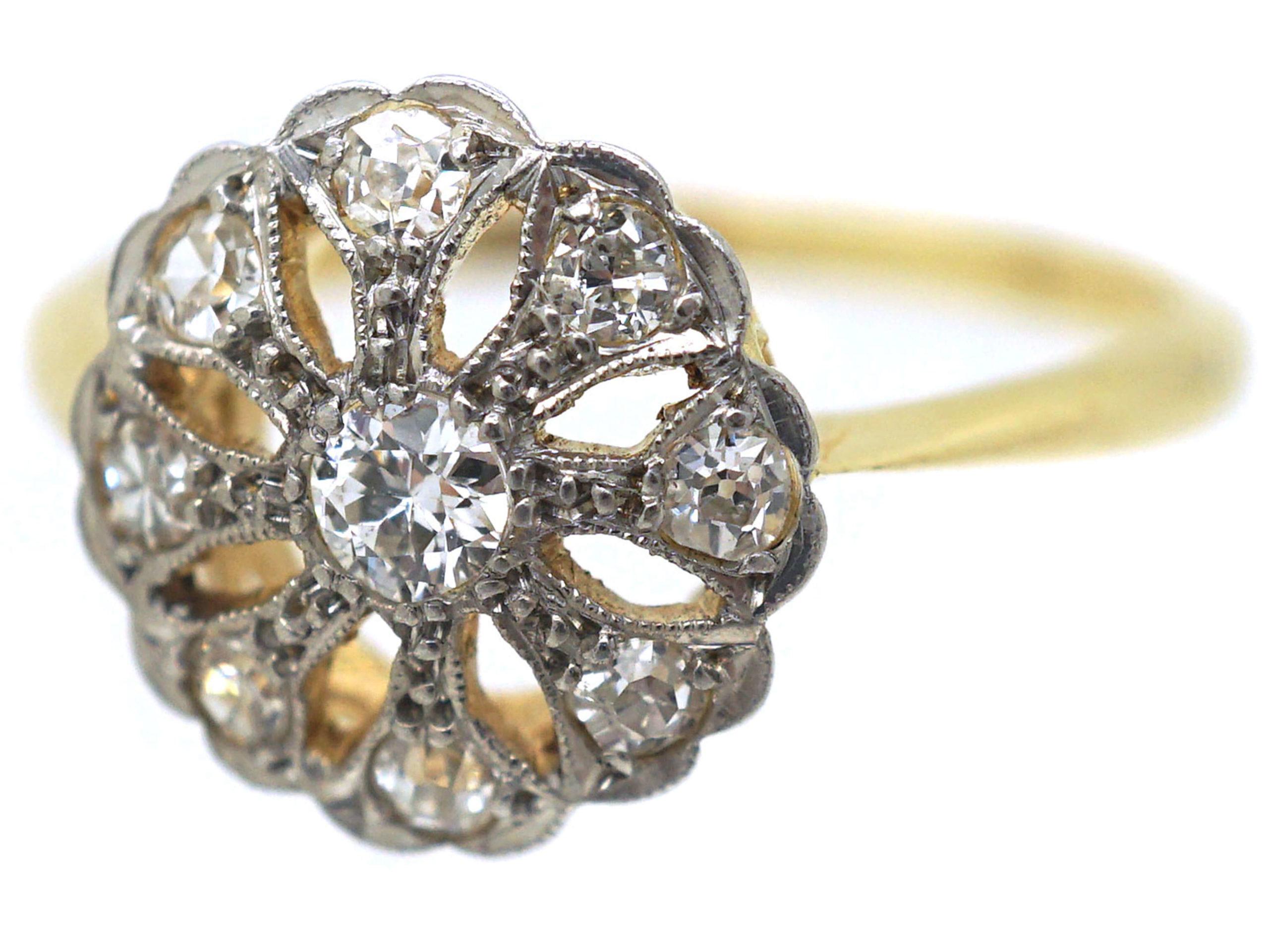 Edwardian 18ct & Platinum, Openwork Diamond Cluster Ring