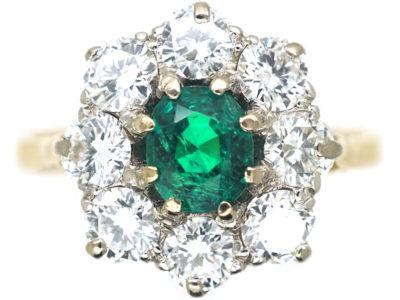 Edwardian 18ct Gold, Emerald & Diamond Cluster Ring