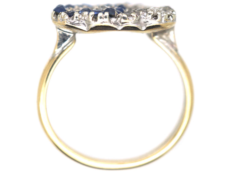 Edwardian 18ct Gold, Sapphire & Rose Diamond Entwined Double Heart Ring