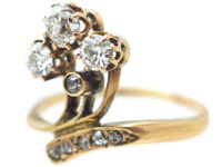 Art Nouveau 18ct Gold & Diamond Flower Spray Ring