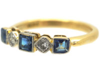 Art Deco 18ct Gold & Platinum, Sapphire & Diamond Five Stone Ring