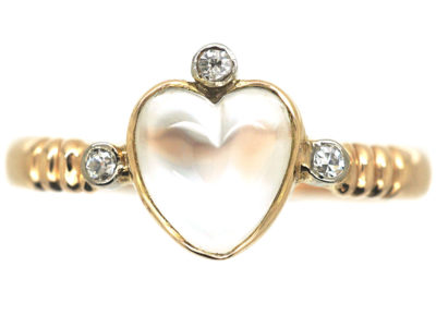 Edwardian 15ct Gold, Moonstone & Diamond Heart Shaped Ring
