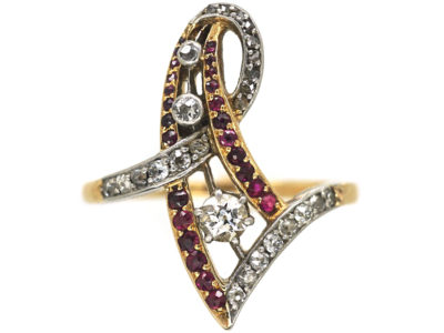 Art Nouveau 18ct Gold & Platinum, Diamond & Ruby Ring