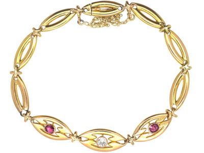 Art Deco 14ct Gold Ruby & Diamond Bracelet
