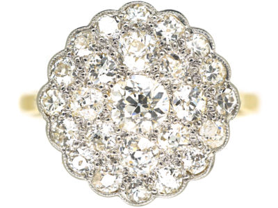 Edwardian 18ct Gold & Platinum, Pave Set Diamond Cluster Ring