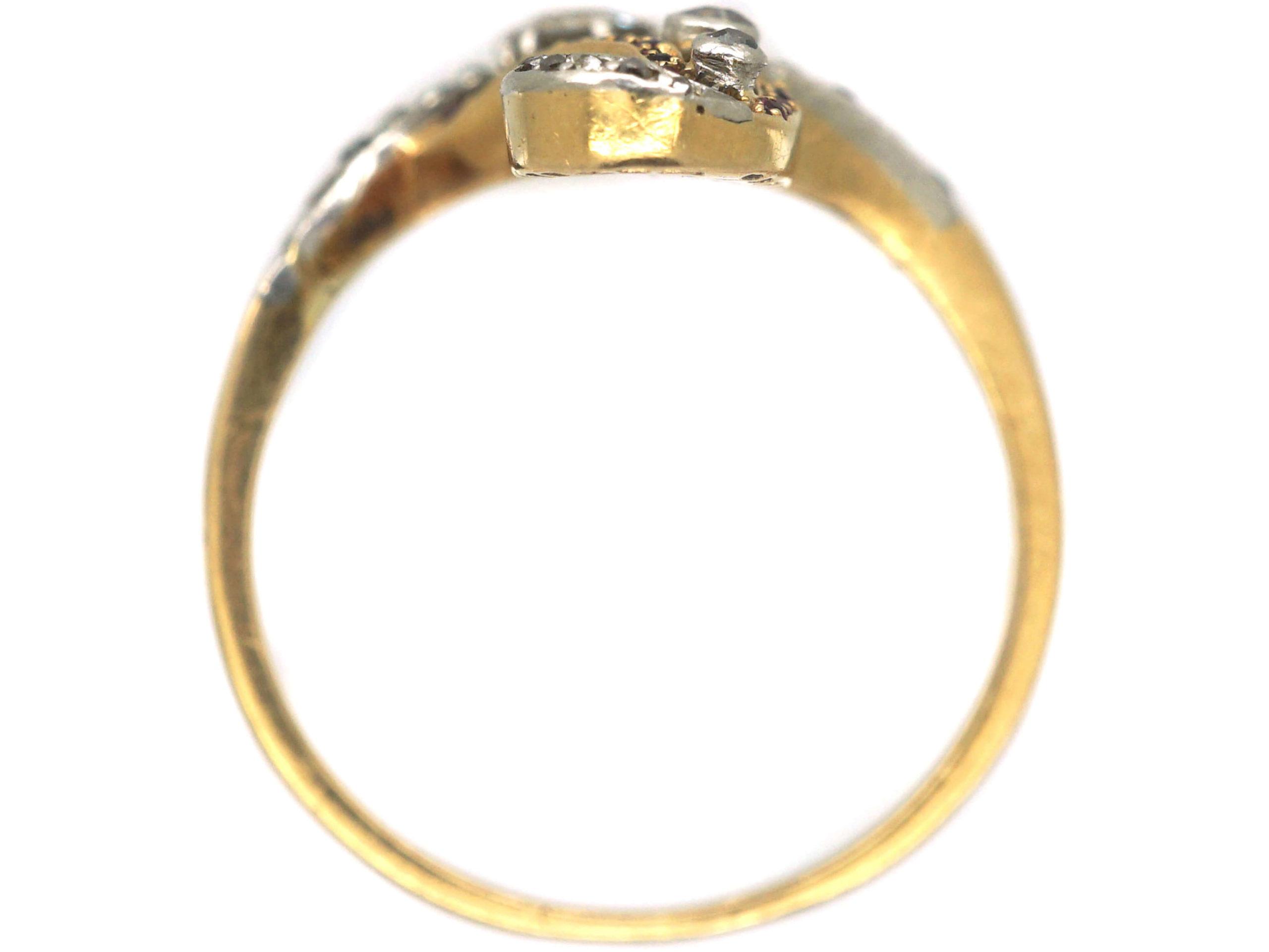 Art Nouveau 18ct Gold & Platinum, Diamond & Ruby Ring