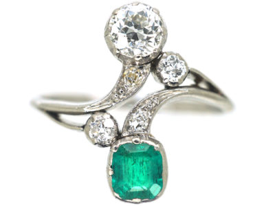 Art Nouveau Emerald & Diamond Cross Over Ring