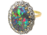 18ct White & Yellow Gold, Black Opal & Diamond Cluster Ring