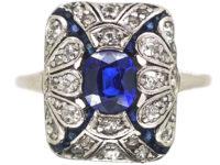 Edwardian 18ct Gold & Platinum, Diamond & Sapphire Wrap Over Design Ring